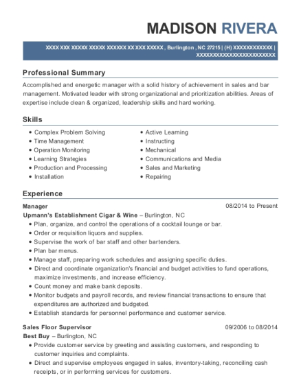 Manager resume sample North Carolina