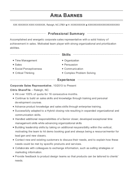 Corporate Sales Representative resume example North Carolina