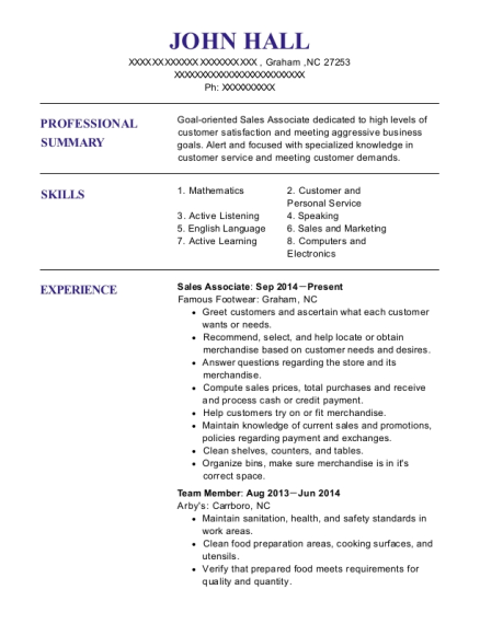 Sales Associate resume format North Carolina