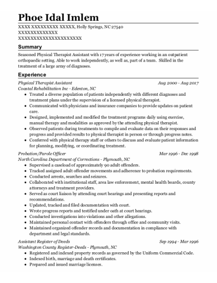 Physical Therapist Assistant resume template North Carolina