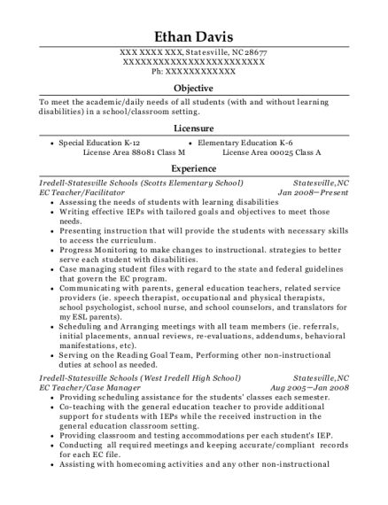 EC Teacher resume sample North Carolina