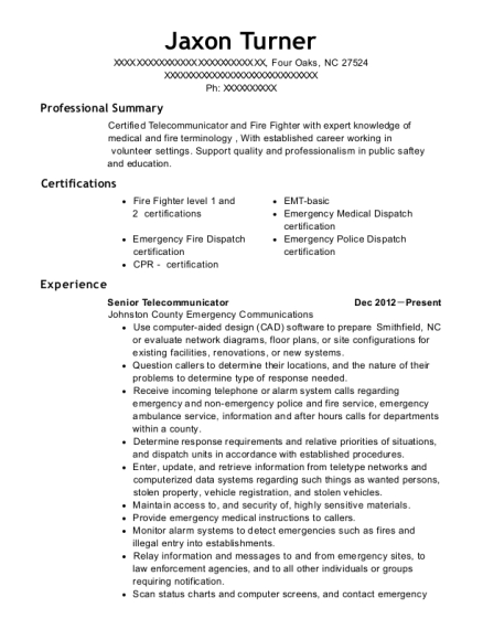 Senior Telecommunicator resume template North Carolina