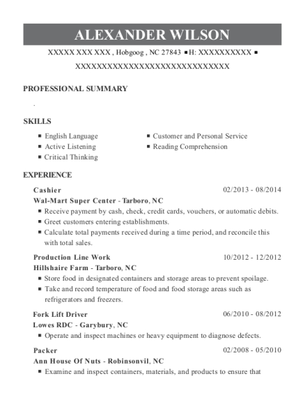 Cashier resume format North Carolina