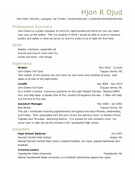 welder resume format North Carolina