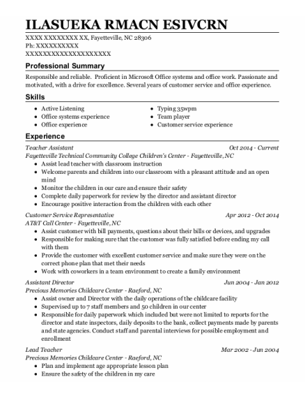 Teacher Assistant resume format North Carolina
