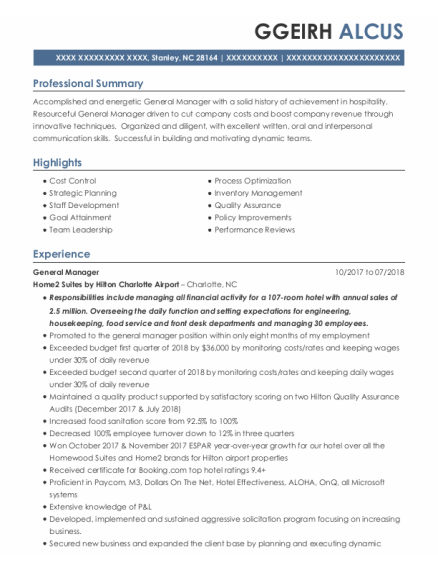 General Manager resume template North Carolina
