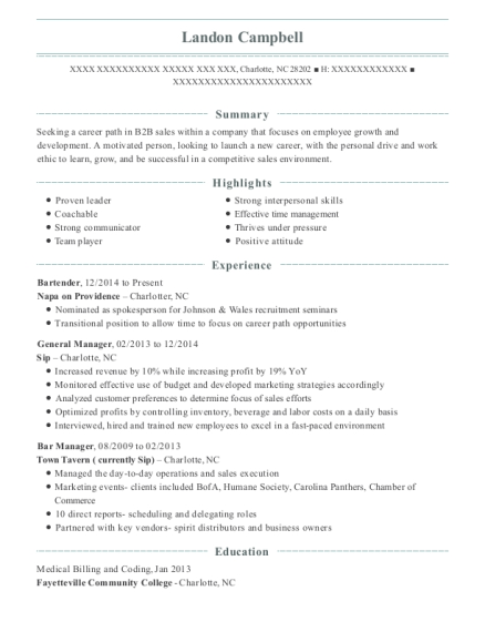 Bartender resume sample North Carolina