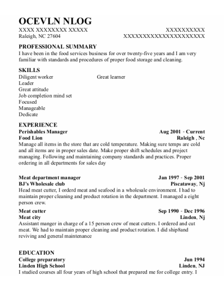 Meat Department Manager resume example North Carolina