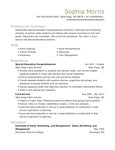 Special Education Paraprofessional resume format North Dakota