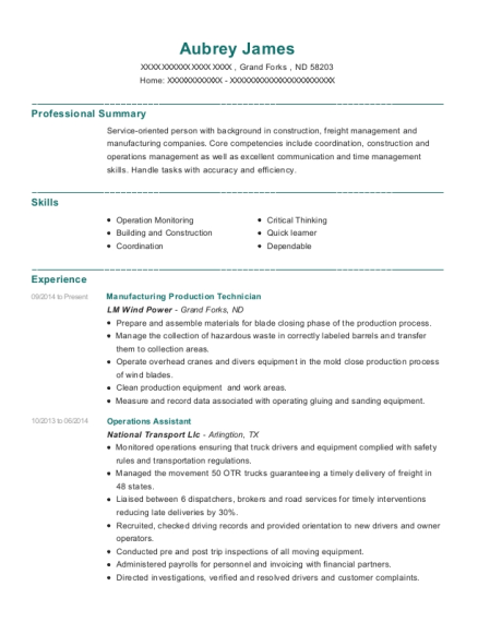 Manufacturing Production Technician resume example North Dakota