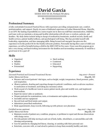 Licensed Practical and Licensed Vocational Nurses resume template North Dakota