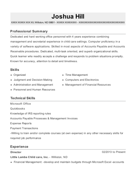 Director resume format North Dakota