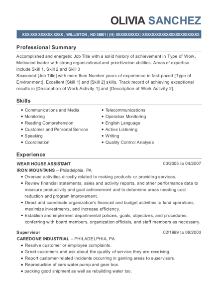 WEAR HOUSE ASSISTANT resume template North Dakota