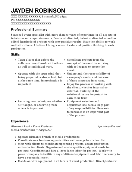Bismarck Lead resume template North Dakota