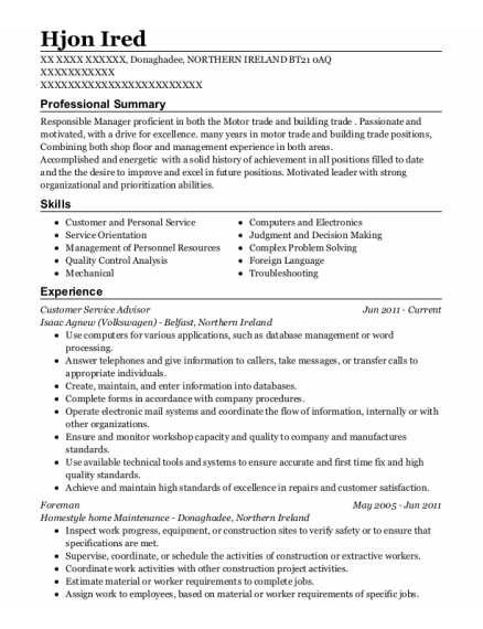 Customer Service Advisor resume format NORTHERN IRELAND