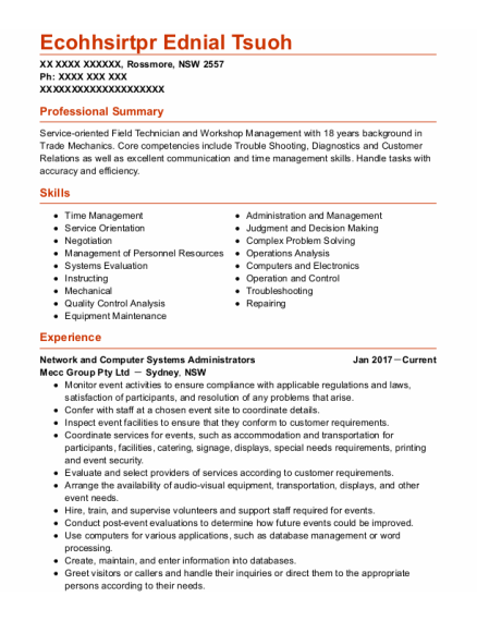Network And Computer Systems Administrators resume example NSW