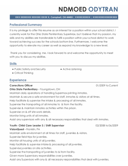 Corrections Officer 2 resume format Ohio