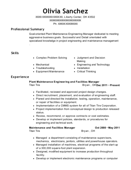 Plant Maintenance Engineering and Facilities Manager resume example Ohio
