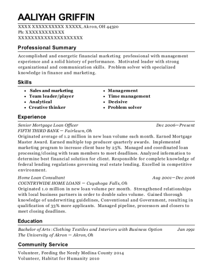 Senior Mortgage Loan Officer resume sample Ohio