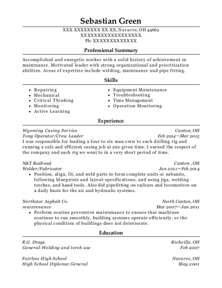 Tong Operator resume format Ohio