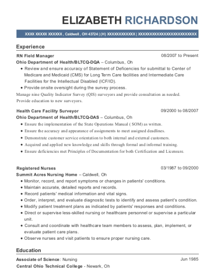 RN Field Manager resume format Ohio