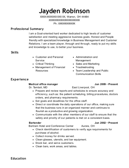 Medical office manager resume template Ohio