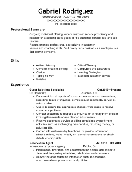 Guest Relations Specialist resume sample Ohio