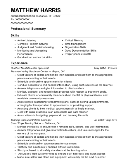 Quilified Mental Health Specialist resume format Ohio