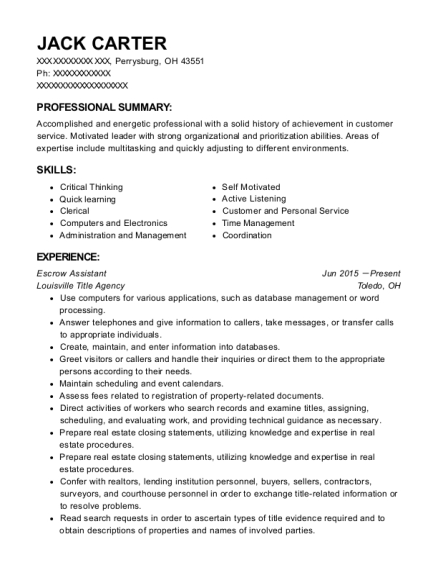 Escrow Assistant resume template Ohio