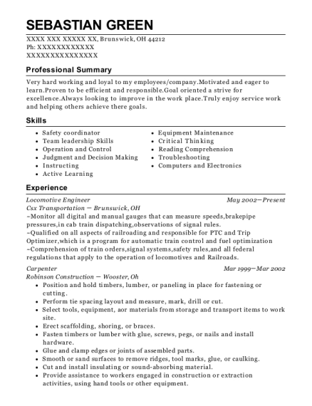 Locomotive Engineer resume template Ohio