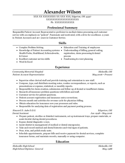 Patient Account Representative resume format Ohio