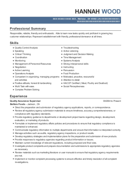Quality Assurance Supervisor resume template Ohio