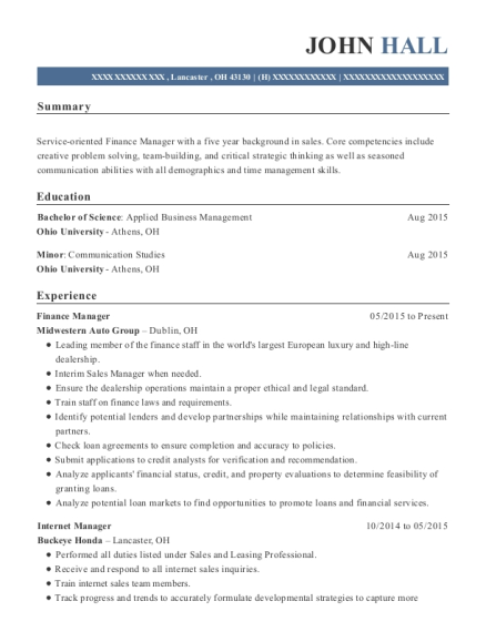 Finance Manager resume template Ohio