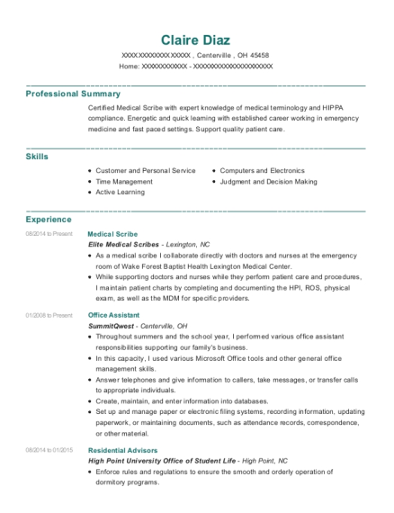 Medical Scribe resume template Ohio