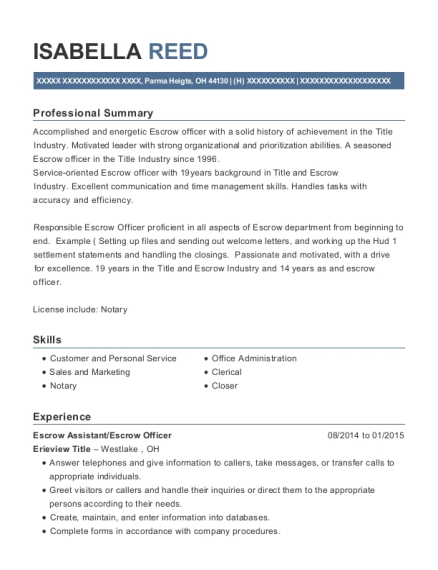 Escrow Assistant resume format Ohio