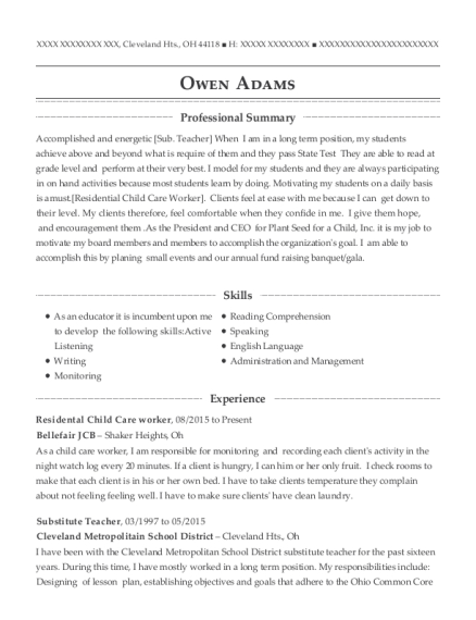 Residental Child Care worker resume example Ohio