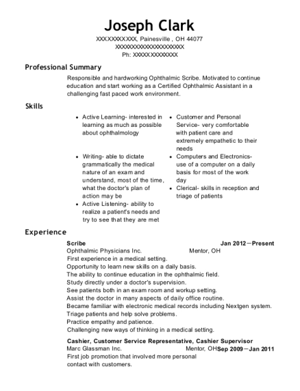 Scribe resume example Ohio