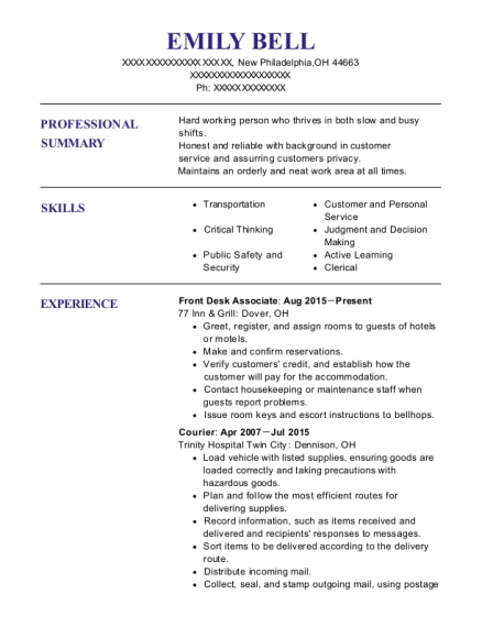 Front Desk Associate resume example Ohio