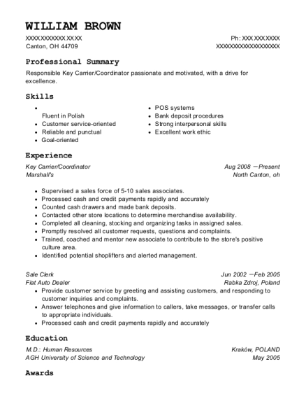 Key Carrier resume example Ohio