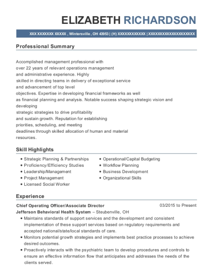 Chief Operating Officer resume example Ohio