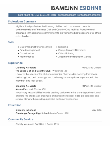 Cleaning Associate resume format Ohio