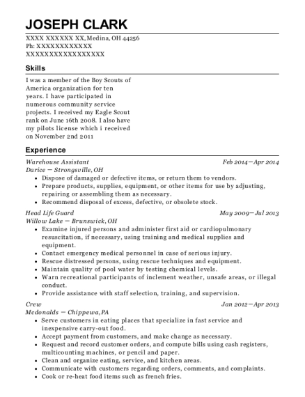Warehouse Assistant resume template Ohio