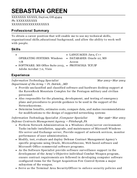 Information Technology Specialist resume sample Ohio
