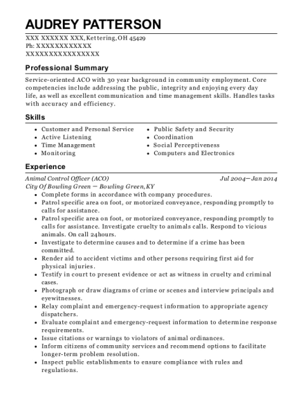 Animal Control Officer resume example Ohio