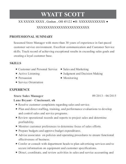 Store Sales Manager resume sample Ohio
