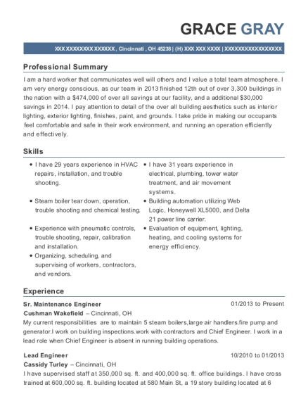Sr Maintenance Engineer resume example Ohio
