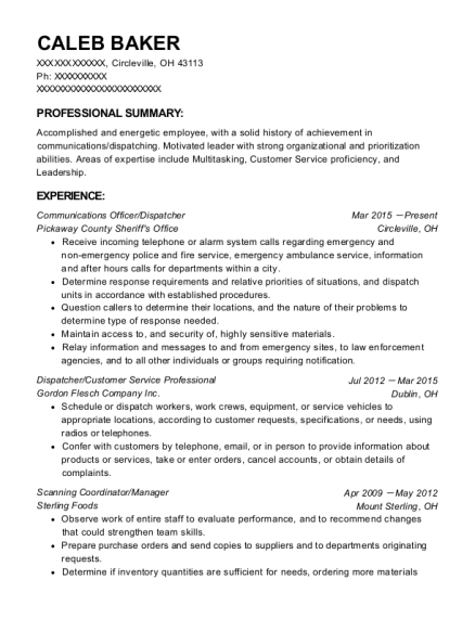 Communications Officer resume template Ohio