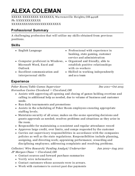 Poker Room resume sample Ohio
