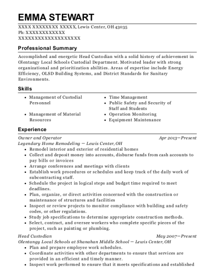 Owner and Operator resume example Ohio