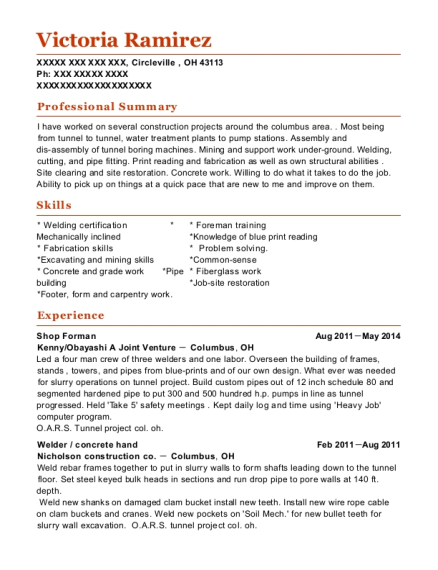 Shop Forman resume format Ohio